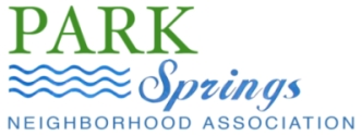 Park Springs Neighborhood 		Association banner. Park is green; Springs is turquoise as are two 		parallel rows of waves
